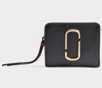 Snapshot Mini Compact Geldbörse aus schwarzem und Chianti Split Kuhleder
