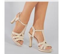 Bikini Wildleder Sandalen aus weißem Ziegenleder