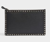 Clutch mit Reißverschlusse Rockstud aus genarbtem Kalbsleder in Schwarz