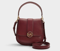 Lillie Medium Flap Bag Messenger Bag in Burgundy Calfskin