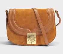 Trisha Shoulder Bag aus Cognac Wildleder und glattem Kalbsleder