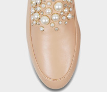 Gia Pearl Loafers aus Oyster Nappaleder mit Perlen