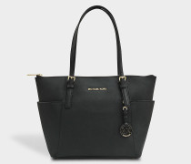 Jet Set Item East/West Top Zip Tote Bag in Black Grained Calfskin