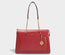 Sutton Large Top Zip Tote Bag aus Scarlet gemustertem Leder