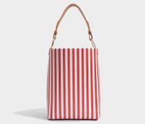 Ora Shopper Tasche aus rotem und weißem Kalbsleder
