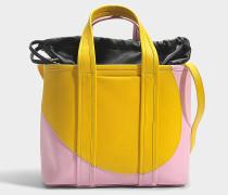 Tote Bag aus gelbem rosanem Kalbsleder