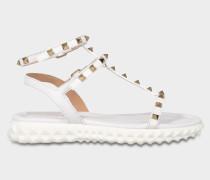 Free Rockstud Sandalen aus weißem Kalbsleder und Metall