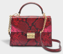 Sloan Medium Double Flap Top Handle Satchel Tasche aus rotem Glossy Python geprägtem Leder