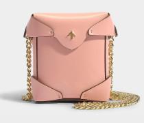 Micro Handtasche Pristine mit Kettenriemen aus pflanzlichem Kalbsleder in Rosa