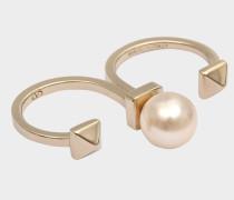 Doppelter Ring Rockstud Pearl