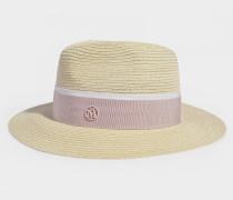 Hut Henrietta aus feinem Stroh Canapa Beige und rosa Schleife