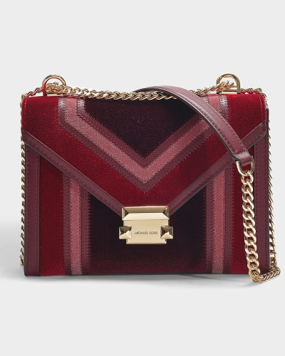Whitney Large Shoulder Bag in Burgundy Velvet