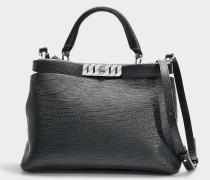 Handtasche Veronika Top Handle aus schwarzem Kalbsleder