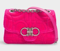 Gesteppte Handtasche Gancio aus rosa Samt