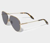 Loop Aviator Sonnenbrille aus dunkelem grauem Metall