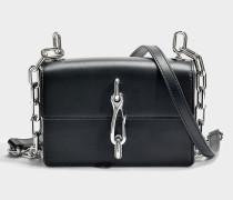 Hook small Crossbody Tasche aus schwarzem Kalbsleder