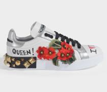Sneakers Portofino aus weißem Leder mit Geranium Stickereien