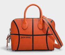 Kleine Tasche Dalton Basketball aus geprägtem Kalbsleder Orange