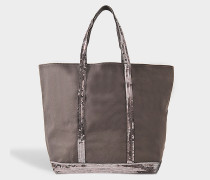 mittlerer Shopper + aus grauer Baumwolle und Paillettaus mit Reißverschluss
