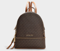 Rhea Zip Medium Backpack in Brown Canvas