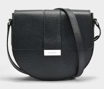 Handtasche mit Taschenklappe Taylor aus genarbtem Kalbsleder in Schwarz