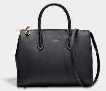 Pin M Satchel Tasche aus Onyx Kalbsleder