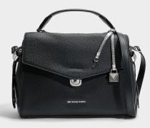 Bristol Medium Top Handle Satchel Tasche aus schwarzem Pebble Leder
