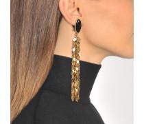 Leaves Ohrringe aus vergoldetem Messing und Schwarz