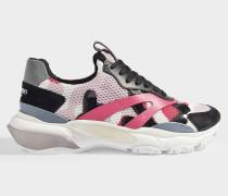 Sneaker Bounce Camo aus fuchsiafarbenem Kalbsleder