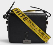 Handtasche Flap aus schwarzem Kalbsleder