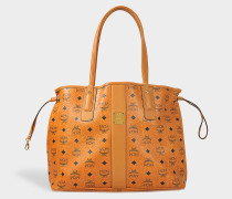 Project sandfarben Reversible Shopper Tasche in Cognac sandfarben