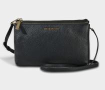 Double Zip Crossbody Tasche aus schwarzem Pebble Leder