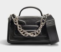 Handtasche Alpha Plus aus schwarzem und silbernem Kalbsleder