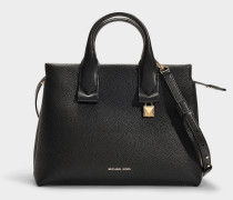 Rollins Large Satchel Bag in Black Grained Calfskin