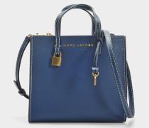 The Mini Grausd Tote Bag aus Sea blauem Kuhleder