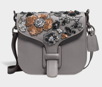 Courier Crossbody Tasche aus grauem Kalbsleder