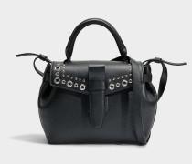 Charlie Handtasche S mit Eyelets aus schwarzem Metall Ziegenleder