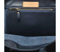 Leder und Eyelets Medium + Tote Bag aus dunkelblauem Kuhleder