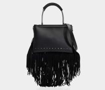 Dime small Satchel Tasche mit Fransen aus schwarzem Kalbsleder