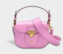 Hidden Lock Small Shoulder Bag aus rosanem Kalbsleder