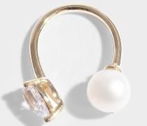 Mono-Ohrring Perle Rare aus 14 Karat Gold und weißem Saphir