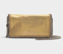 Clutch Falabella Shiny Dotted Chamois aus goldenem Synthetikmaterial