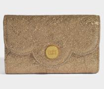 See by Chloé Polina Geldbörse aus sandfarbenembraunem metalloptischem Kuhleder