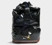 Knot Backpack aus schwarzem gläntzendem Nylon