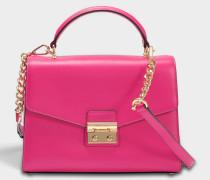 Sloan Medium Double Flap Top Handle Satchel Tasche aus Ultra rosanem poliertem Leder
