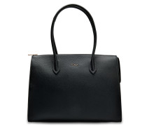 Pin L Satchel Tasche aus Onyx Kalbsleder