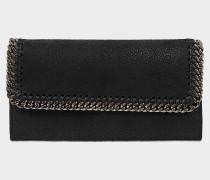 Continental Falabella Flap Geldbörse aus schwarzem Öko Leder