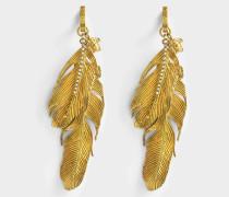 Tribute Native American Ohrringe aus goldfarbenem Messing