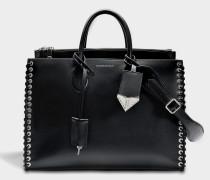 Whipstitch Tote Bag aus schwarzem Kalbsleder