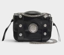 Handtasche mit Taschenklappe Bbox 20 aus schwarzem Kalbsleder
